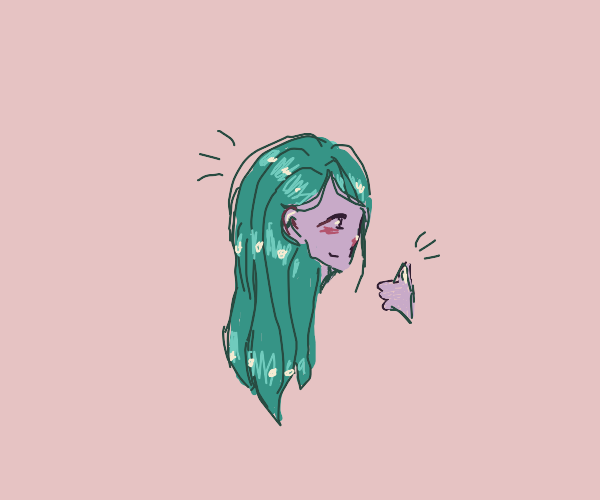 Green haired girl doing thumb up