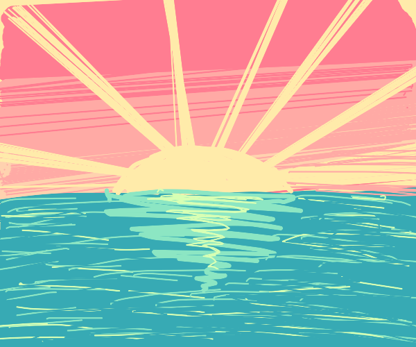 Distant ocean sunset