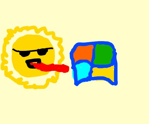 Sun licking the Windows logo