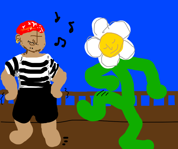 Pirate dances with giant flower