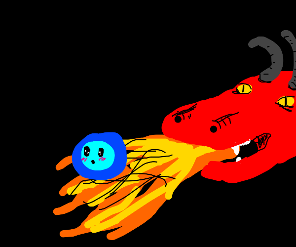 Dragon spitting fire on a baby bubble