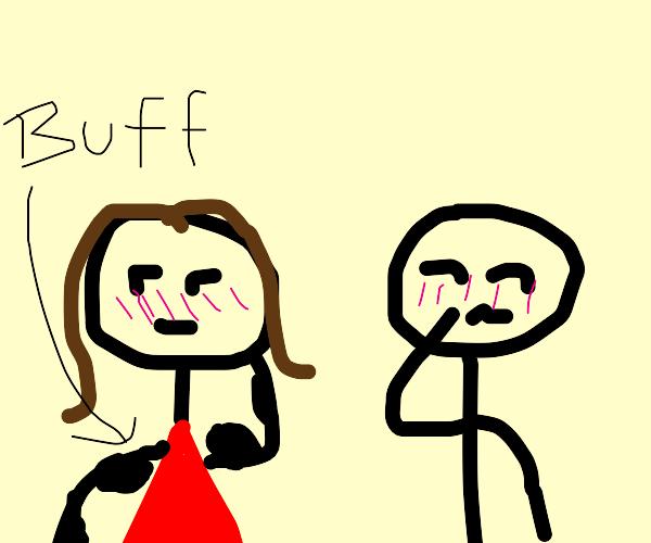 Girl and boy blushing (girl has buff arms)