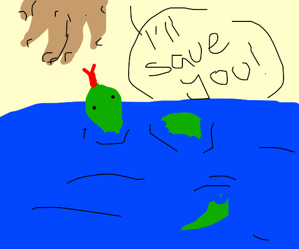 Hand reaching for a drowning green snake