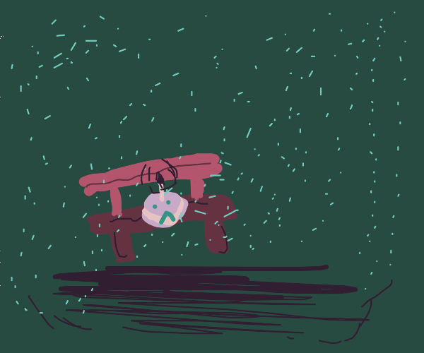 Lonely cake sits on bench in the rain