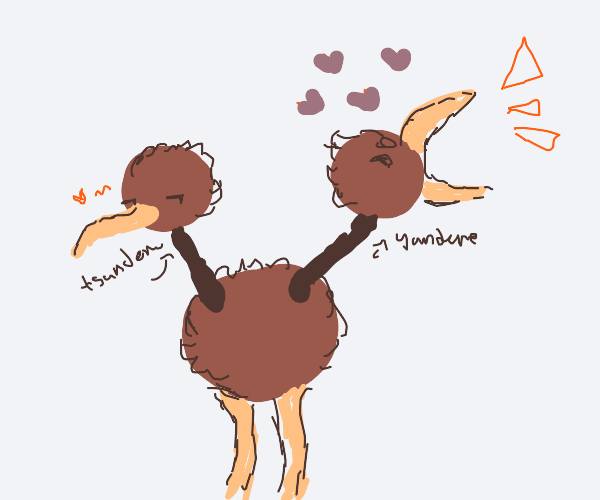 Doduo, one head Yandere, other head tsundere