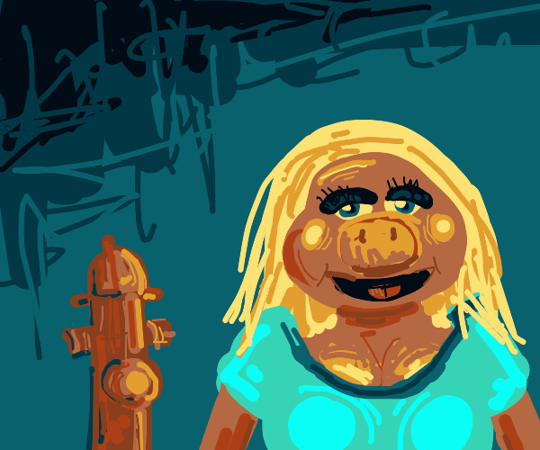 Miss Piggy takes a selfie with a fire hydrant