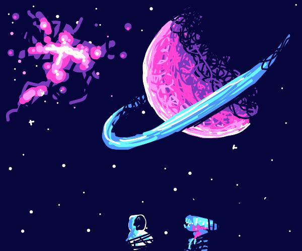 Zenomorph attacks a astronaut next to Saturn