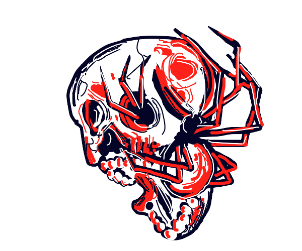 A spider crawling on a deformed skull