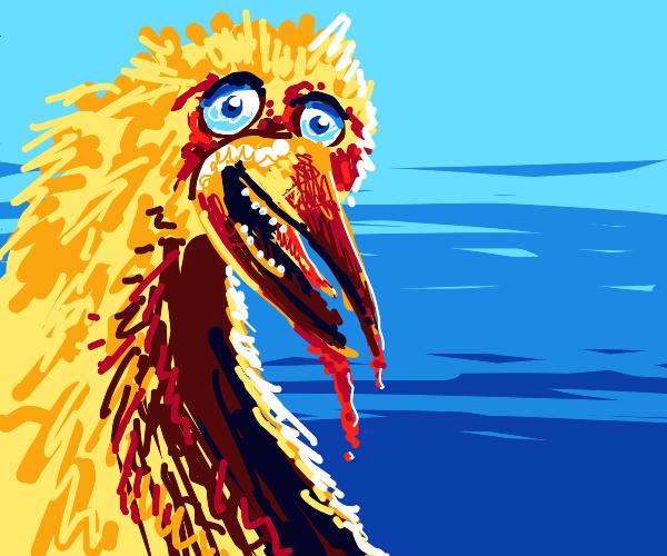 Big Bird feeding on victims' entrails