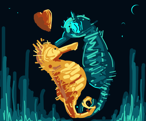 Two loving seahorses kiss