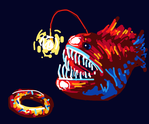Hungry anglerfish thinking of donuts.