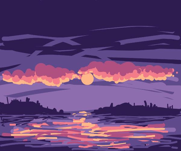 A sunset at sea