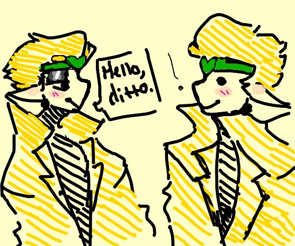 DIO (jjba) says hi to Ditto (Pokemon)