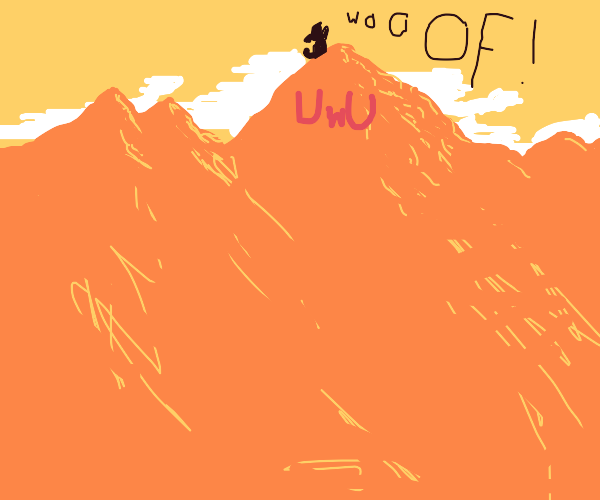 dog on an UwU mountain