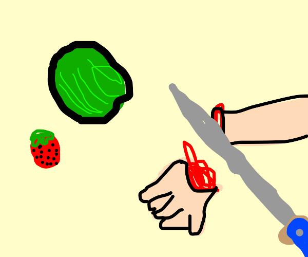 Fruit ninja misses and cuts off hand + finger