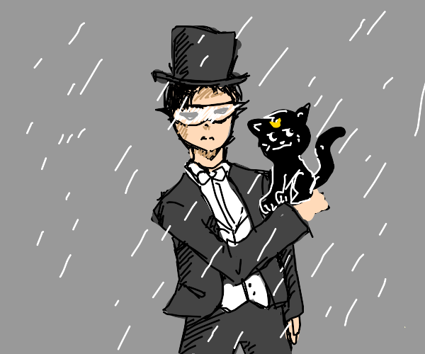 anime boy holding up a black cat in the rain