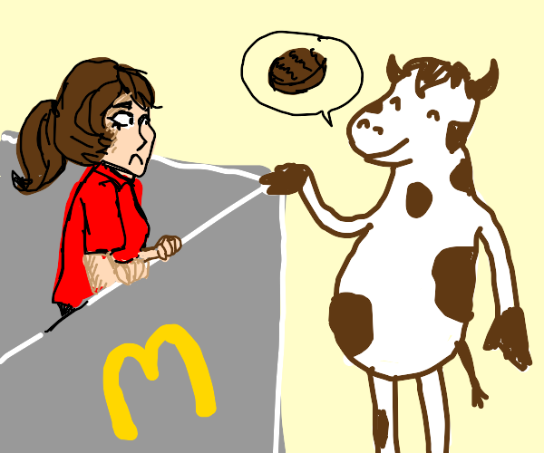 cow orders beef at fast food restaurant