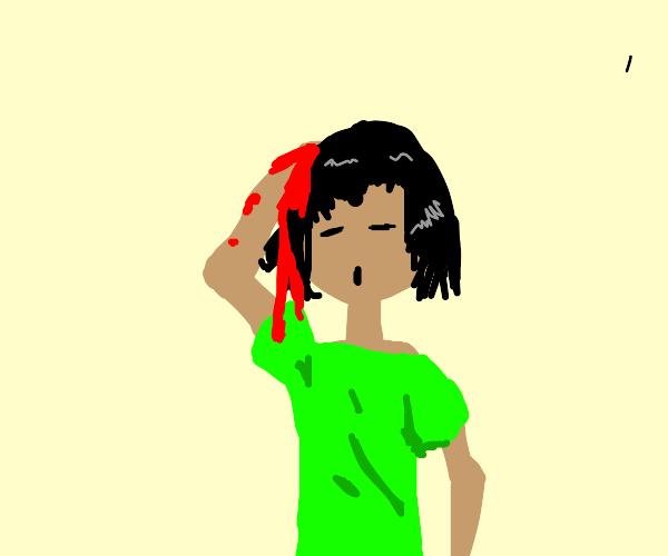 guy is bleeding a lot from head