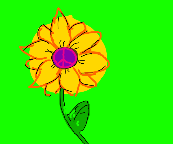 Sunflower with a Peace Sign