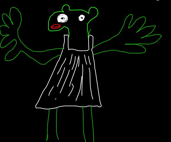 a frog in a wedding dress