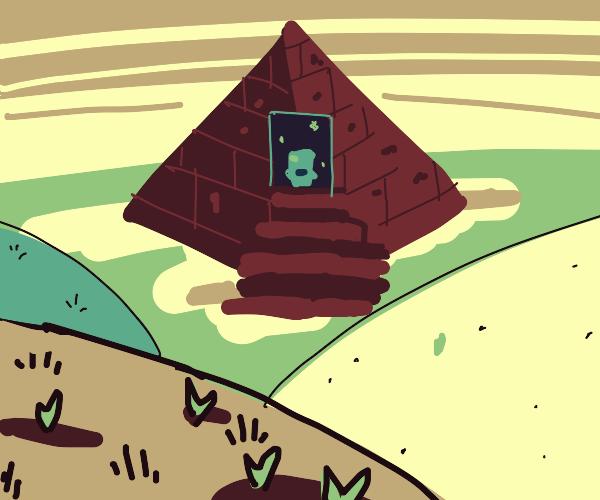 pyramid to the magic light blue toilet
