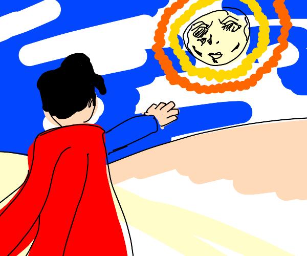Superman upsets the sun with nazi salut.