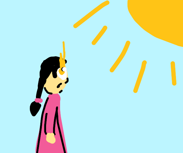 Girl stares at the Sun for too long