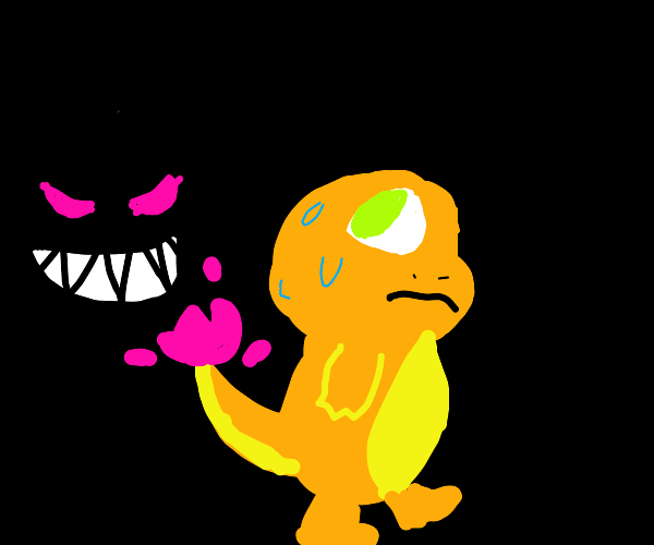 charmander is being stalked in a cave