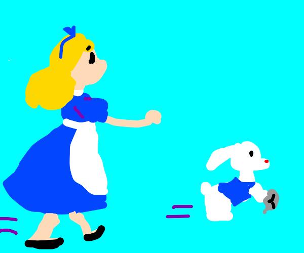 Alice chases the white rabbit
