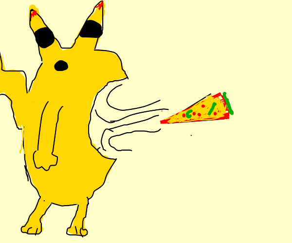 pikachu becomes kirby and mouthbreathes pizza
