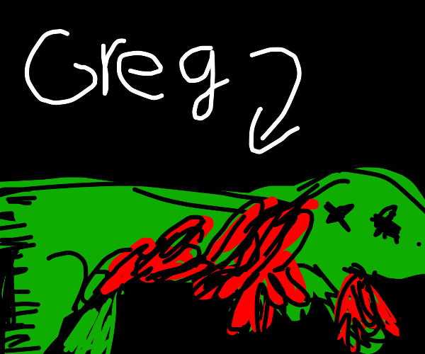 T-rex named Greg covered in blood.