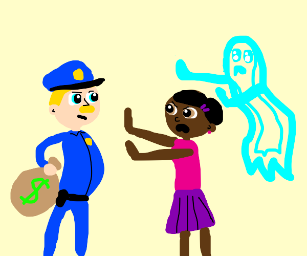Ghost and woman stop a cop with a money bag