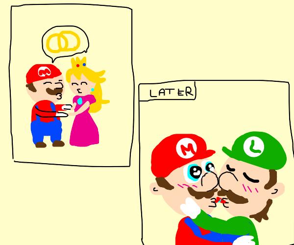 Mario and Peach marriage affair w/ Luigi