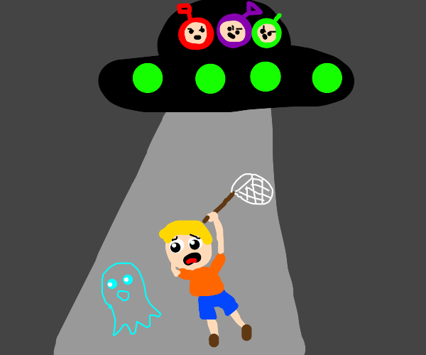 A Teletubby UFO abducts a ghost chasing kid