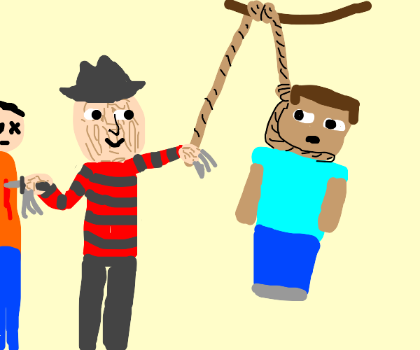 freddy (?) hanging steve and stabbing a guy