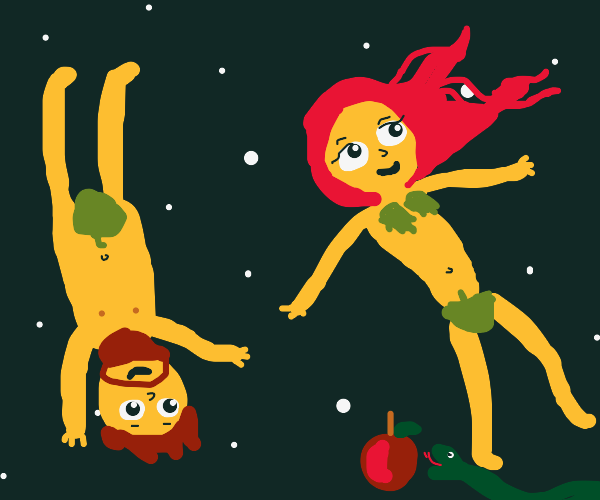 Adam and Eve floating in Space.