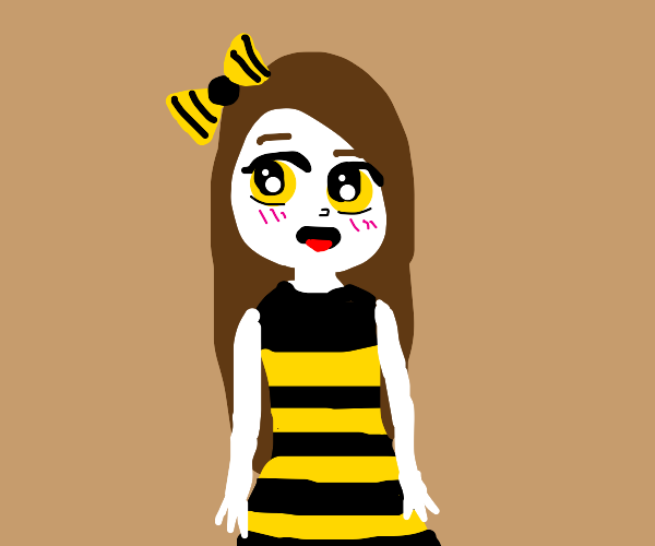 pale woman in bee themed outfit