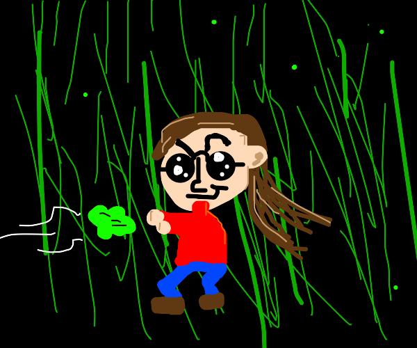 Girl steals lettuce in the Matrix