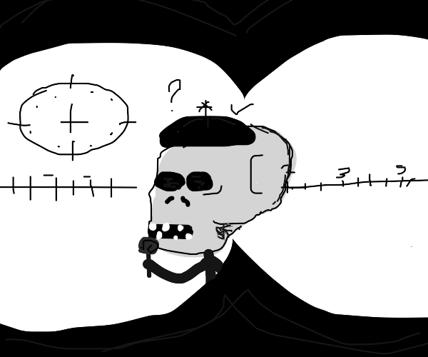 person with binoculars watching skull kid