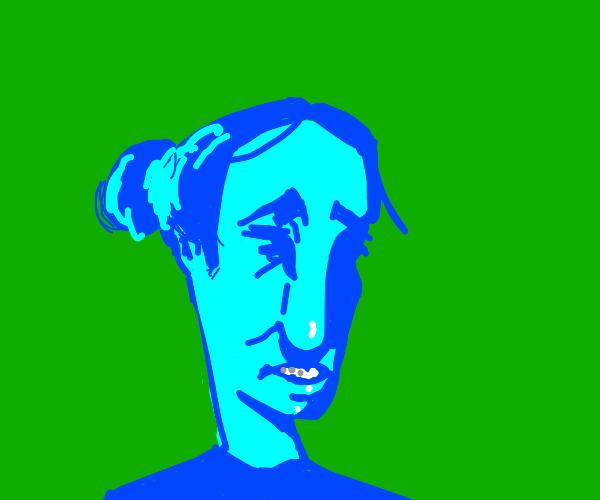 blue woman go w h e e z e