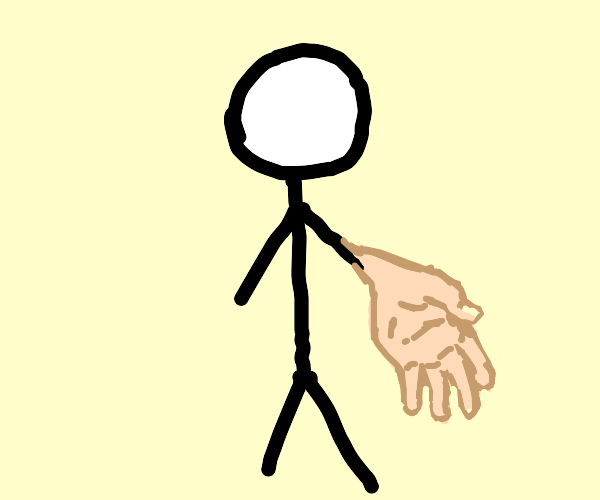 Stick figure but with one realistic hand