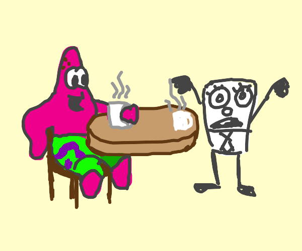 Patrick and doodle bob sit and have coffee