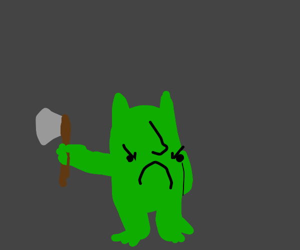 Angry goblin holding hatchet