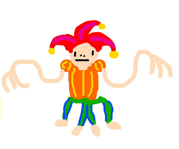 jester with a shirt and 2 pants and no shoes