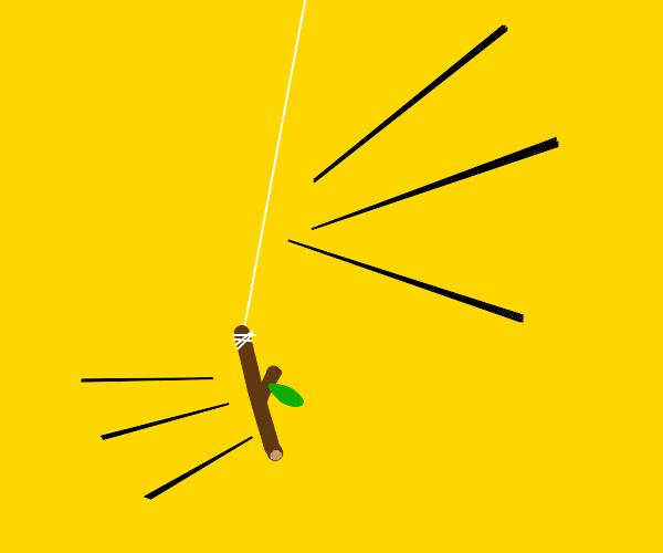 a stick swinging around on a string