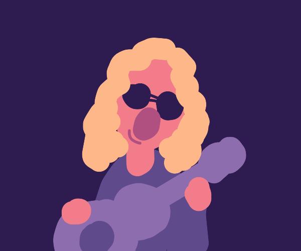 chill guitarist, curly hair round sunglasses