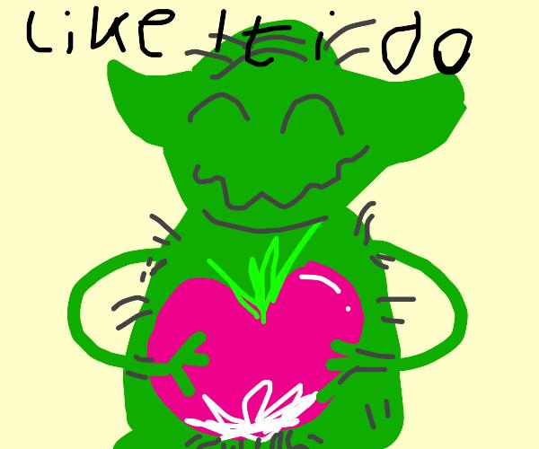 naked yoda gropes a radish