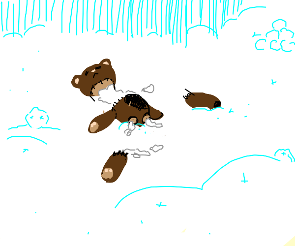 teddy bear dead in the snow
