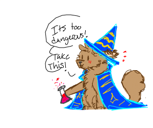 Cat Wizard presents a potion to you