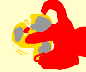 A red hand spinning a yellow fidget spinner
